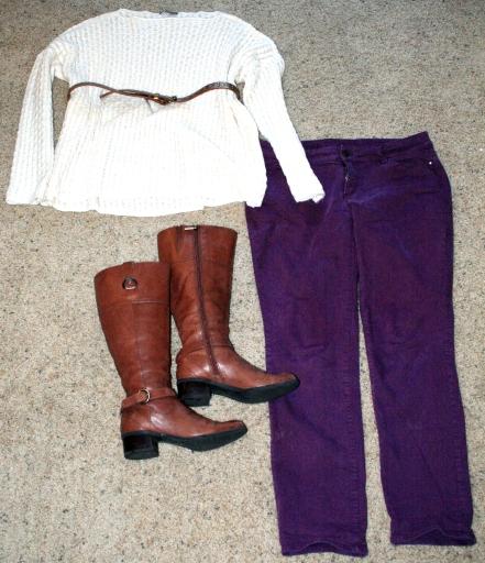 white-sweater-burgundy-pants