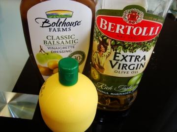 balsamic vinegar, olive oil, lemon