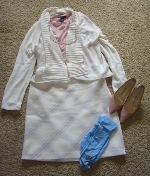 Winter white sweater and skirt with blush blouse