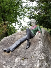 Marble statue of Oscar Wilde in Dublin, Ireland