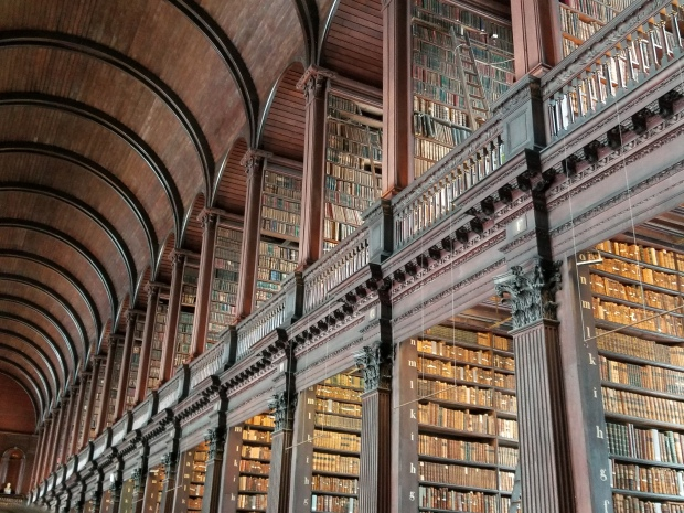 Long, old fashion library at Trinity College in Dublin, Ireland
