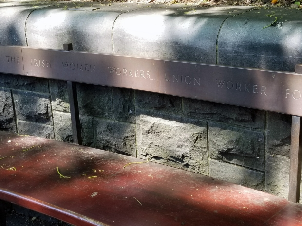 Bench dedicated to the Irish Women's Worker Union