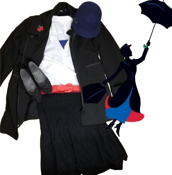 Black skirt, white top, blue cami, red belt, black overcoat, blue hat, black shoes