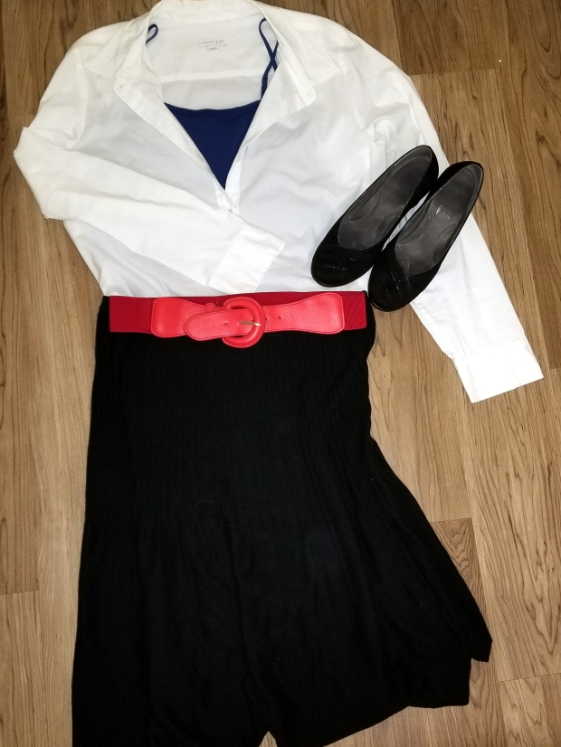 Black skirt, white top, blue cami and black shoes for Mary Poppins.