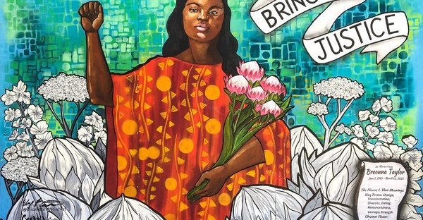 "Graphic art displaying Breonna Taylor with her first raised in power and the words ""Bring Me Justice"""